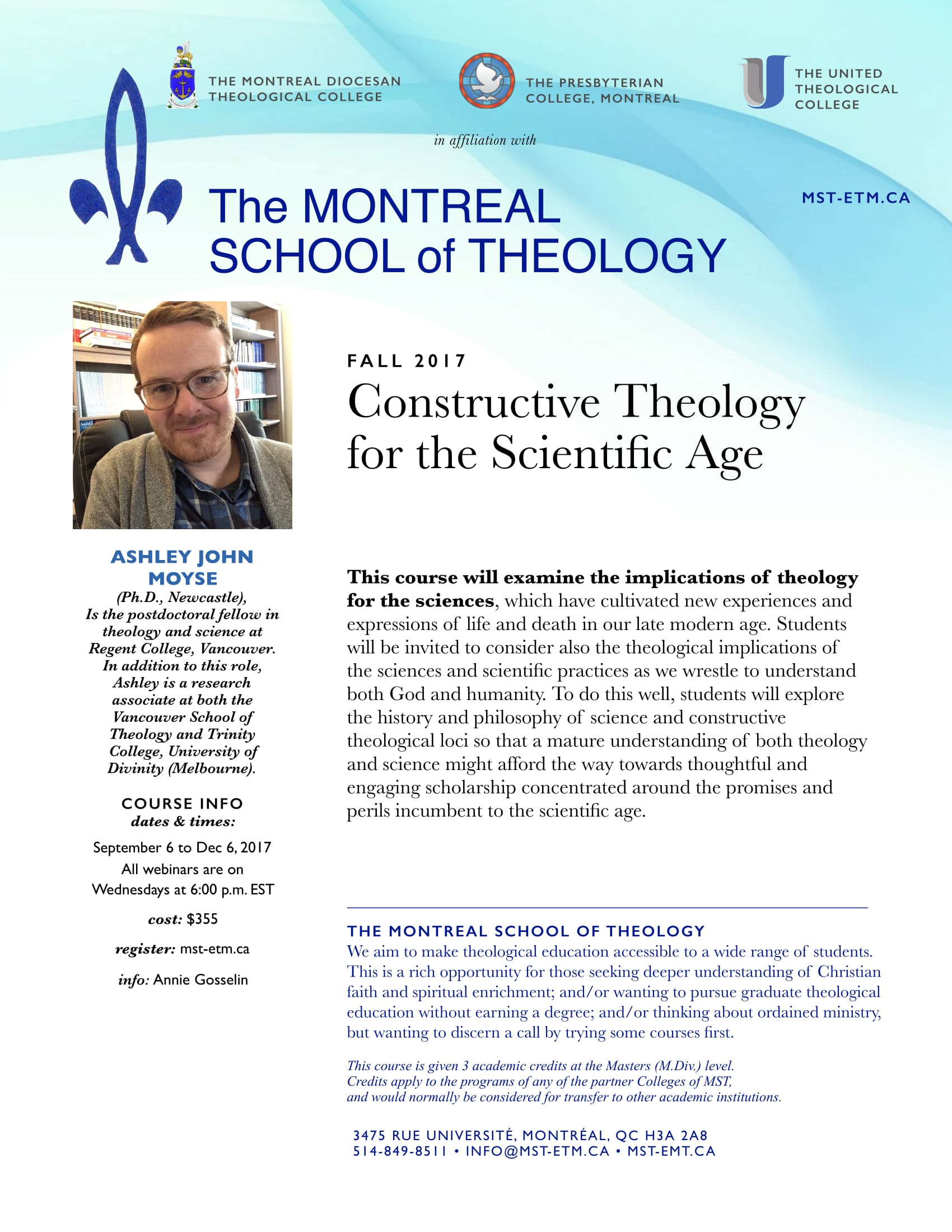 Constructive Theology for the Scientific Age- on-line credit course offered fall 2017