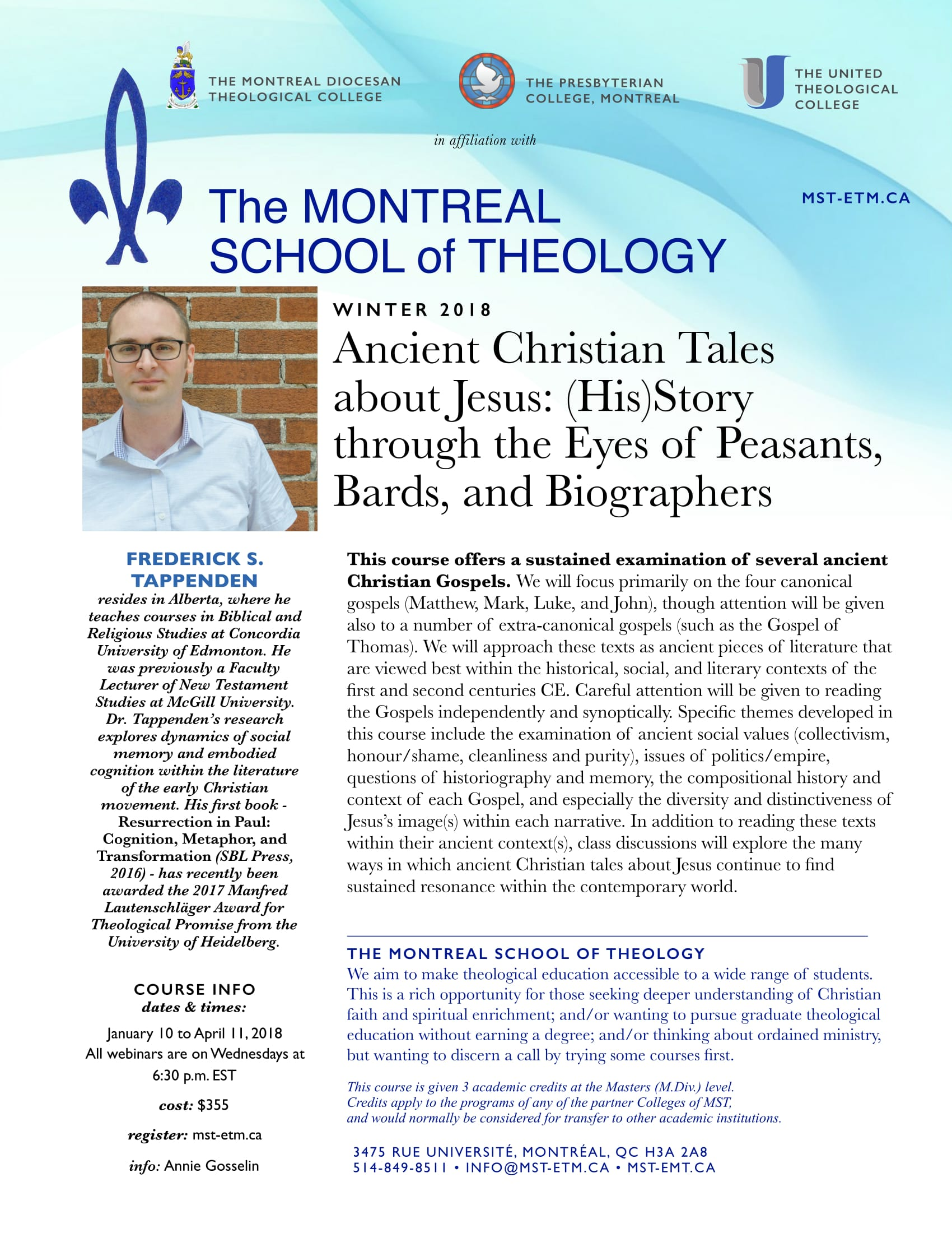 Ancient Christian Tales about Jesus: (His) Story through the Eyes of Peasants, Bards, and Biographers - Winter 2018 on-line credit course