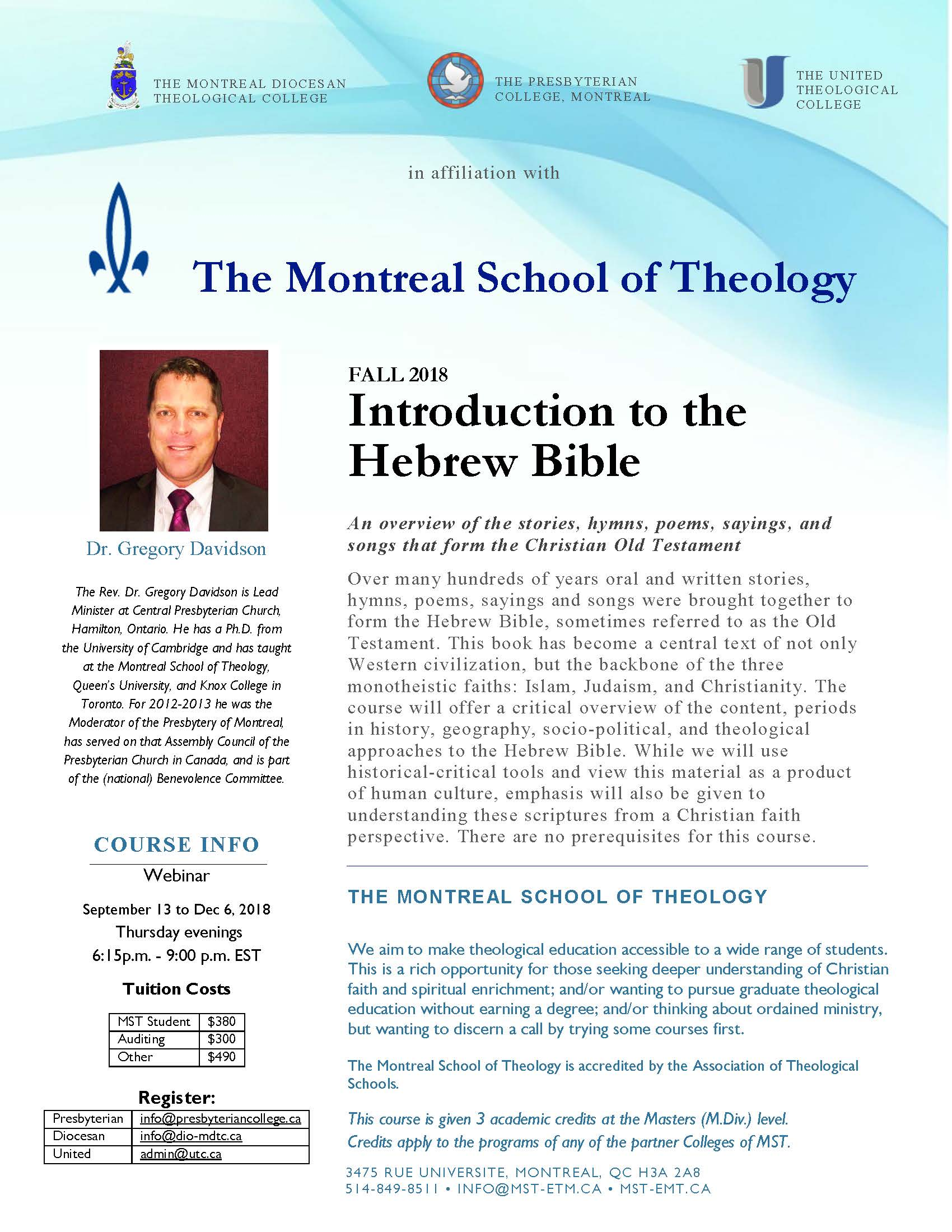 Fall 2018 Online Course: Introduction to the Hebrew Bible