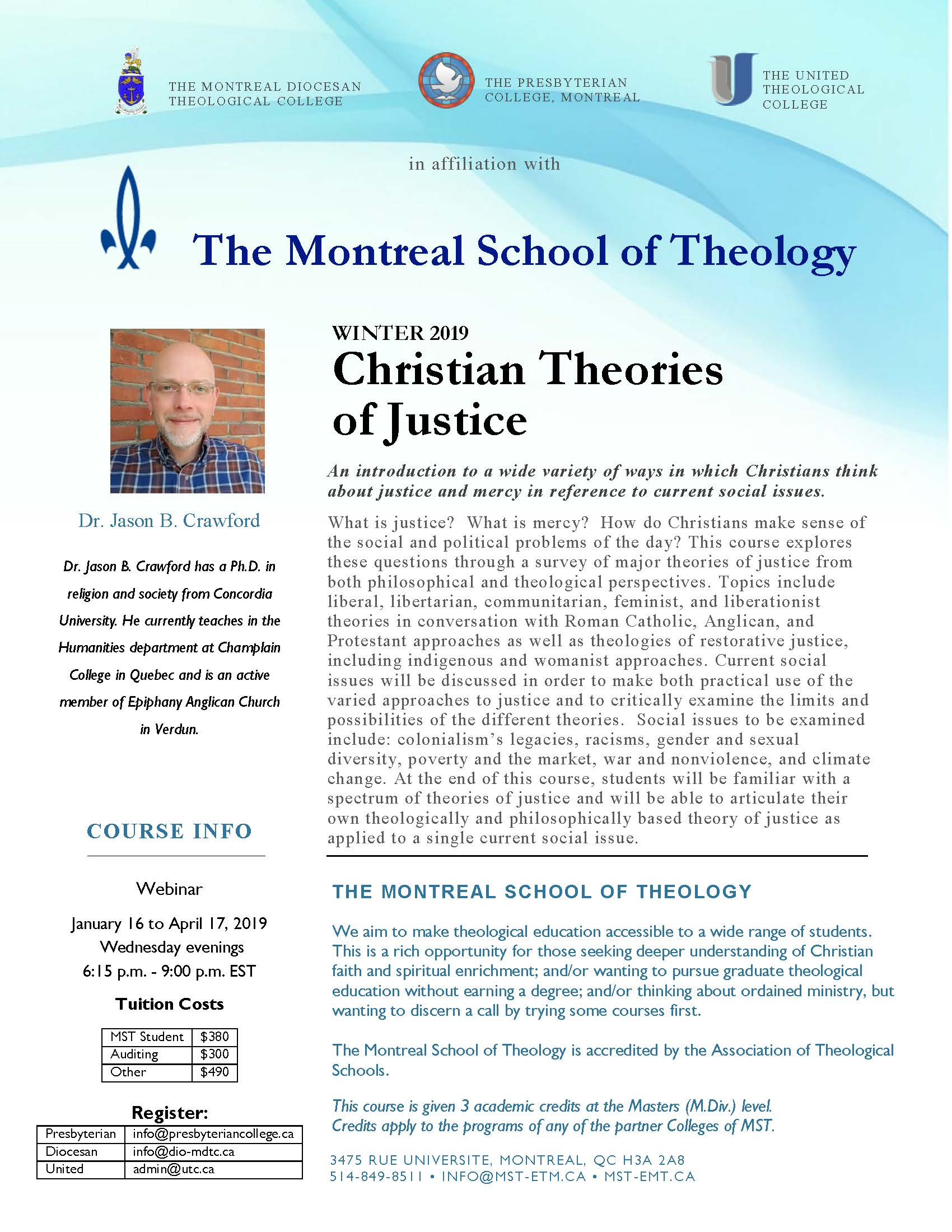 Winter 2019 Course: Christian Theories of Justice