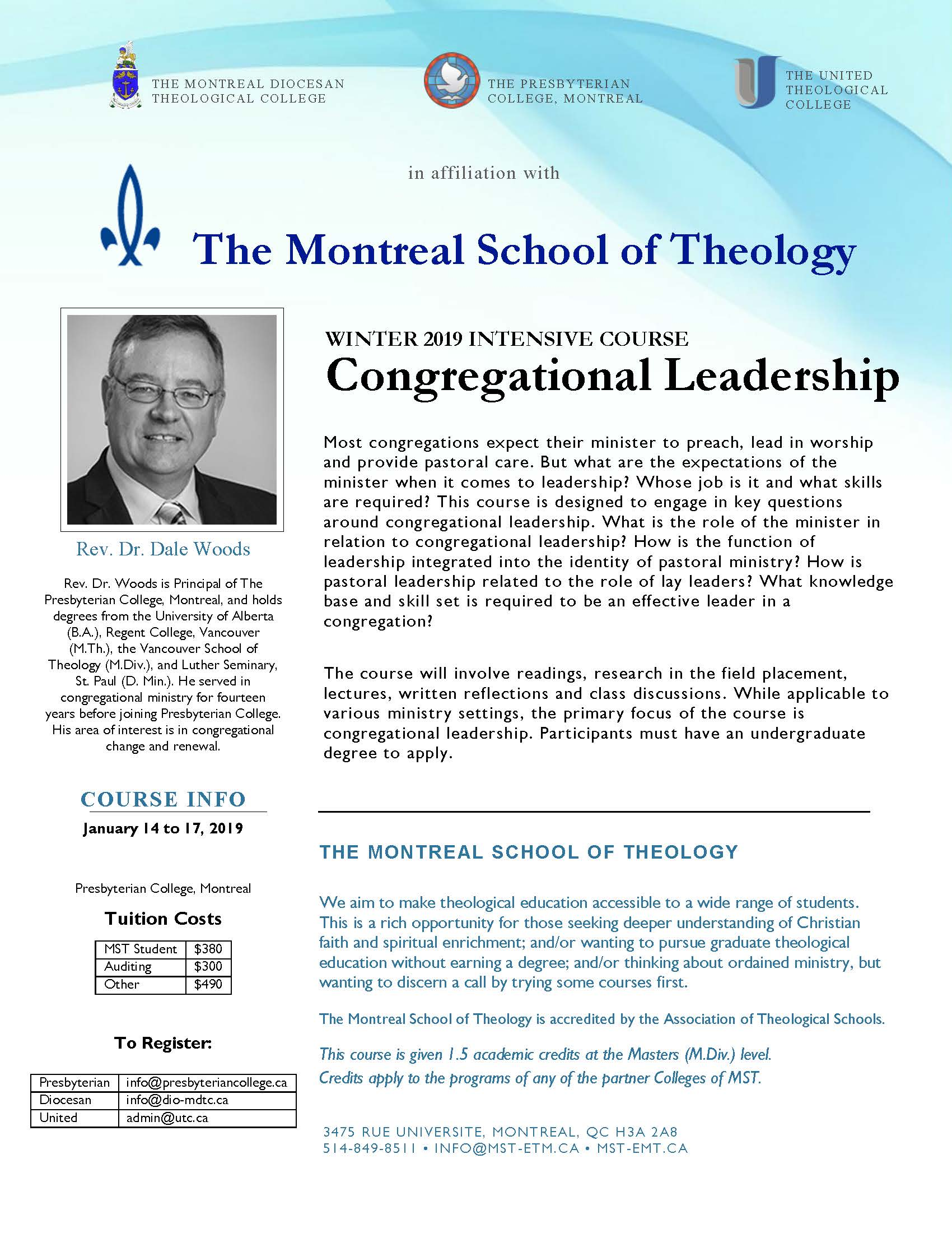 Winter 2019 Intensive Course : Congregational Leadership