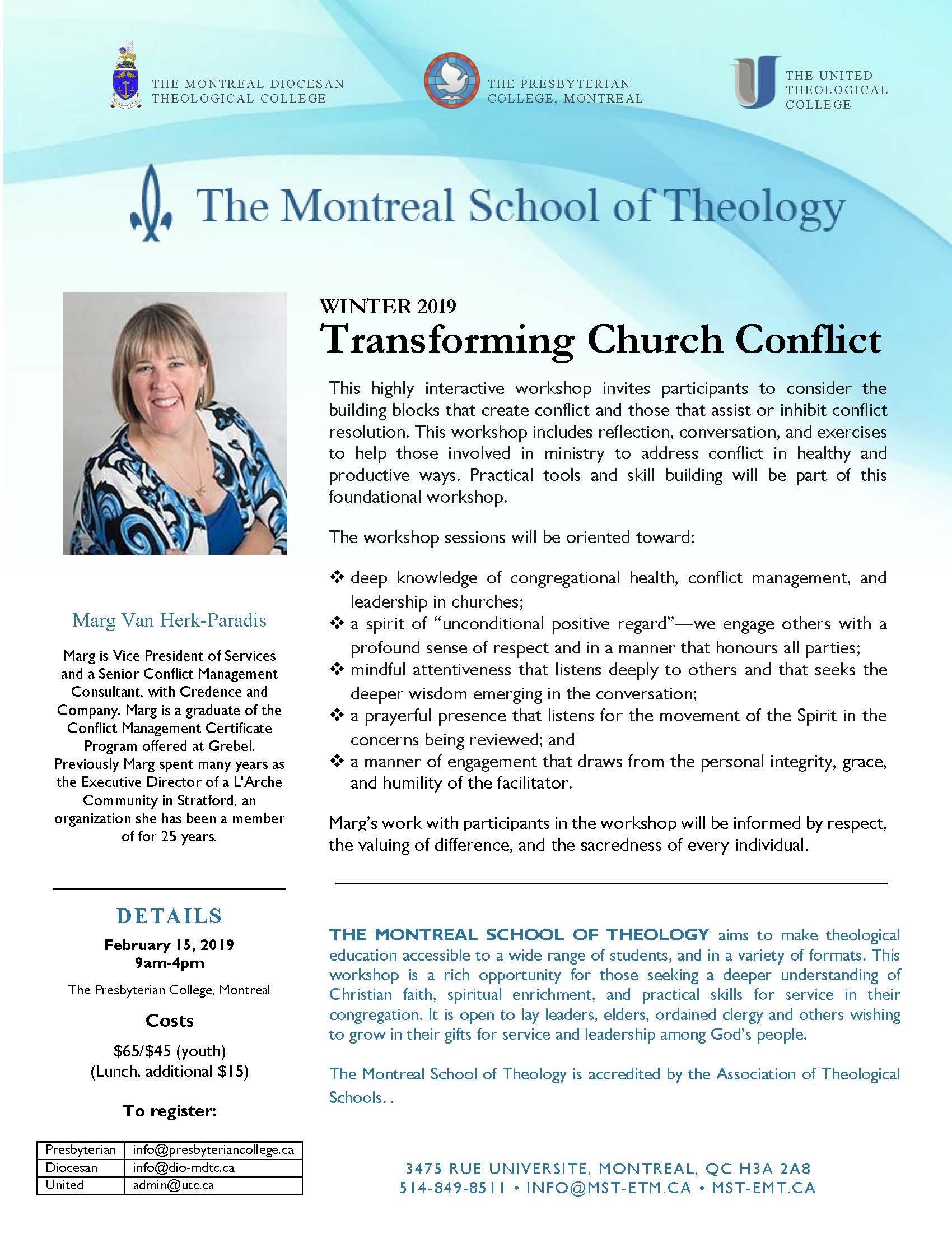Winter 2019 Workshop : Transforming Church Conflict