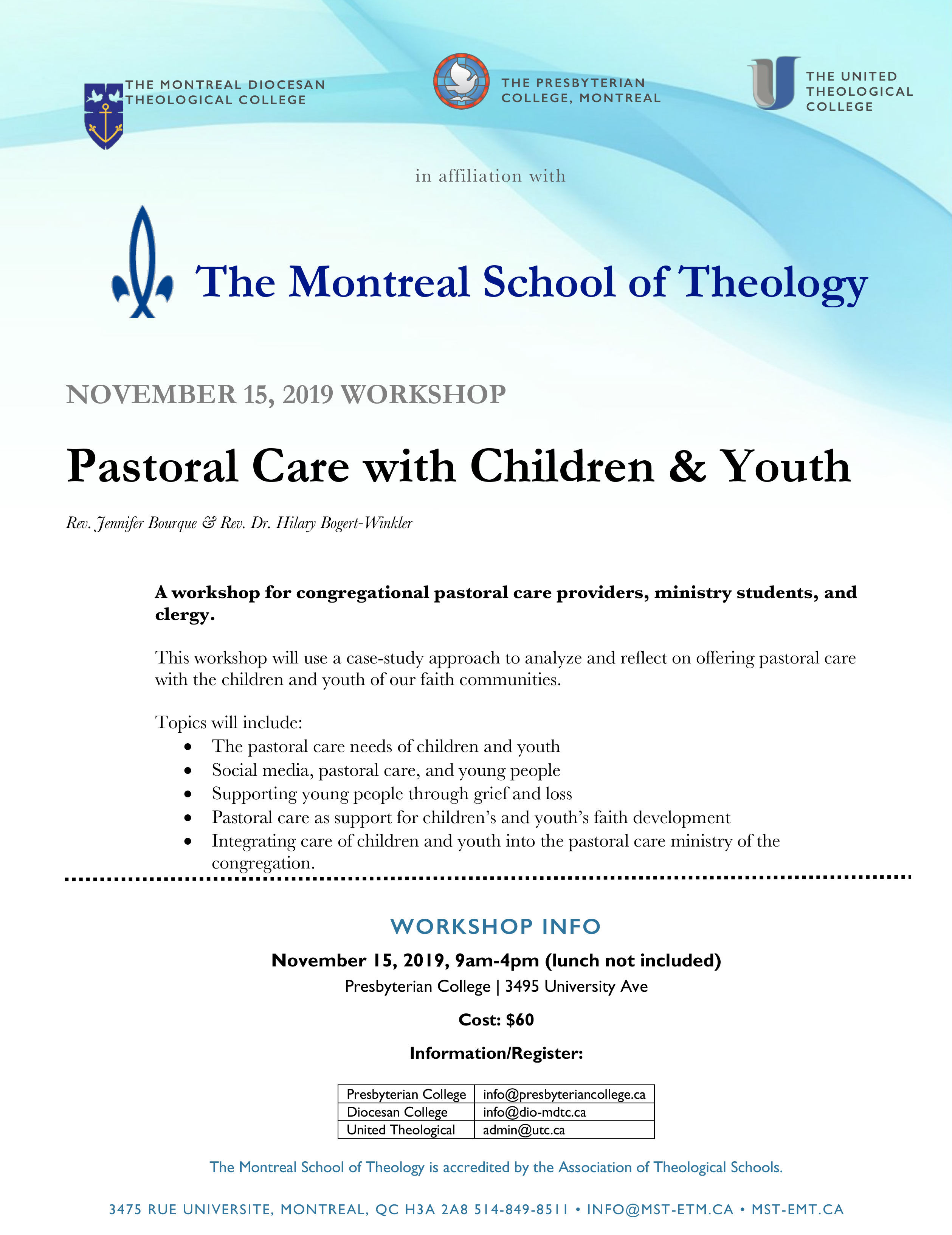 Nov 15th, 2019: Pastoral Care with Children & Youth Workshop